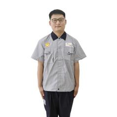 劲霸短袖灰色工衣套装(黑领) XXL码