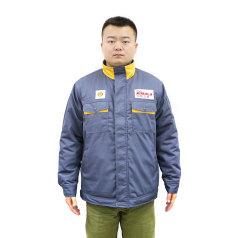 勁霸長袖灰色黃領工衣(加厚款) 單件